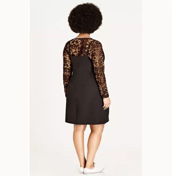 NWT City Chic 90s Black Mesh Leopard Dress sz 22 XL party club