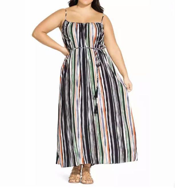 NWT City Chic Jungle Stripe Maxi Dress sz 16 18 20 Multicolour