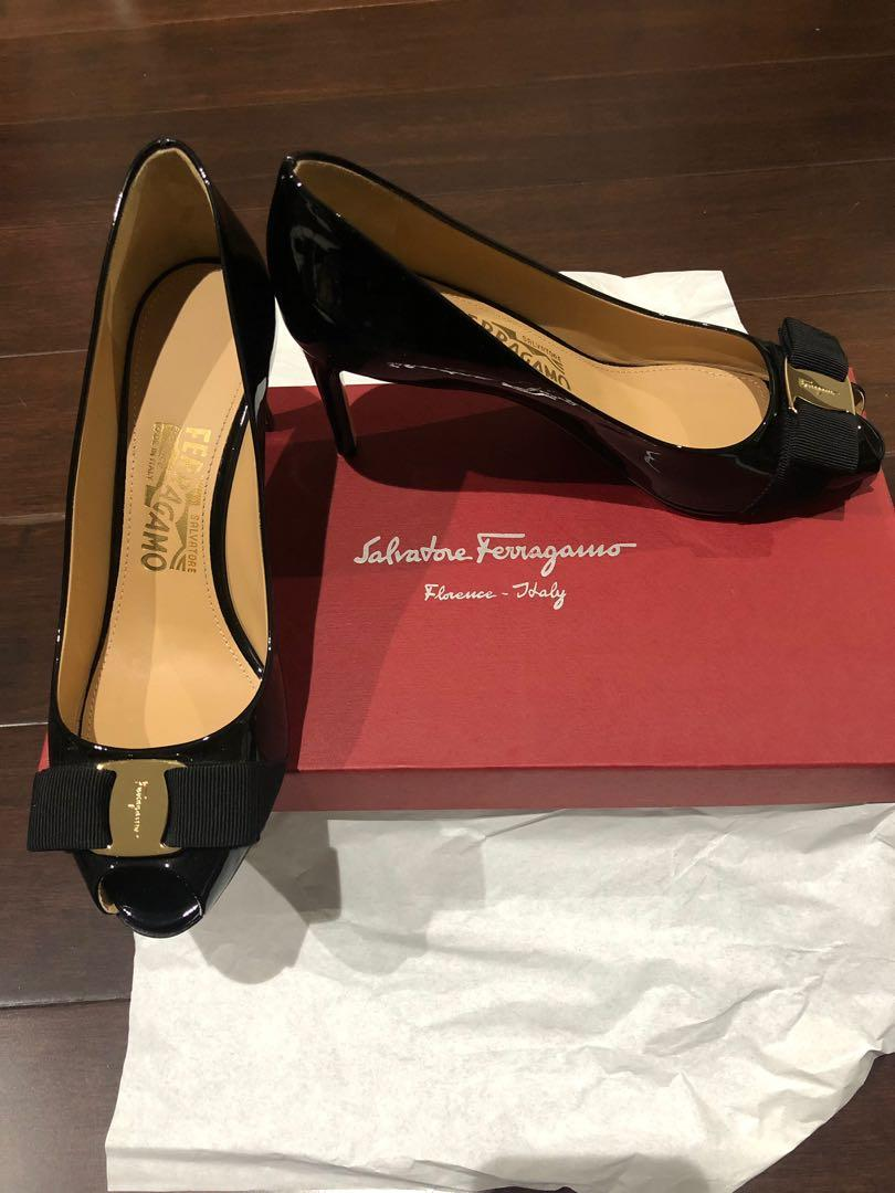 Salvatore Ferragamo Black Patent peeptoe Pumps - New and Authentic