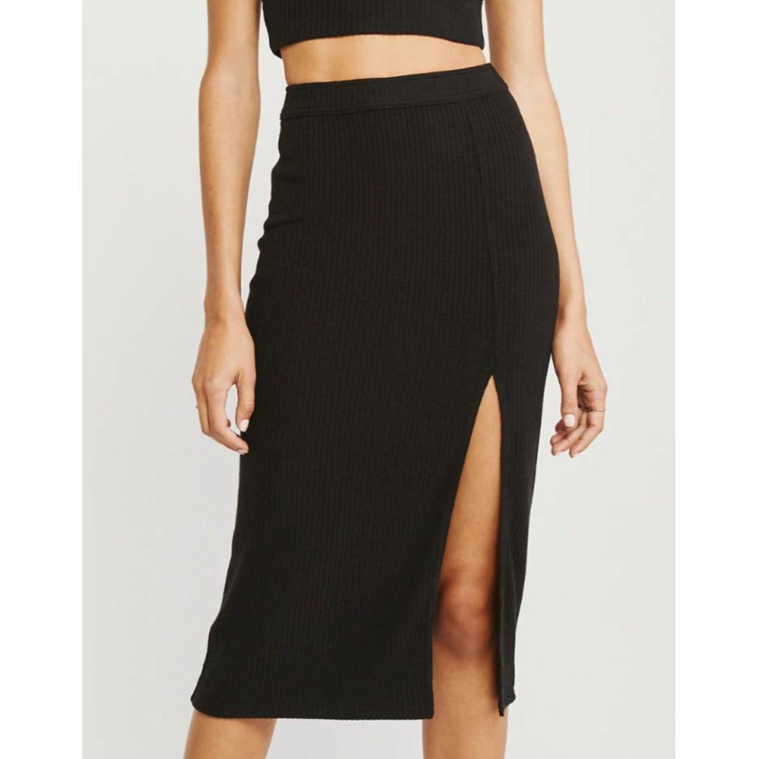 Side-Slit Midi Skirt - XS -  black/grey/olive green