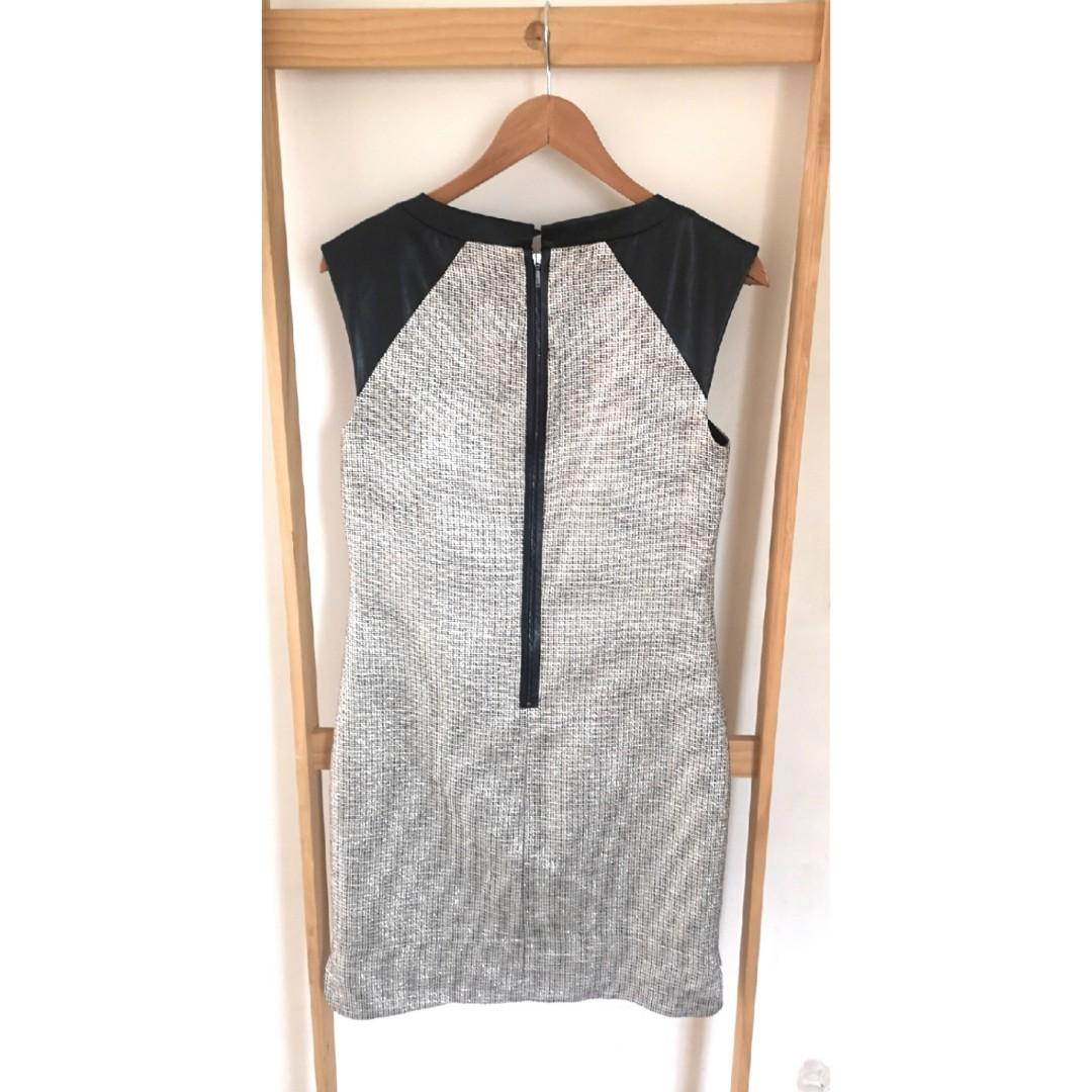 Size 10: metallic woven fabric and faux leather dress