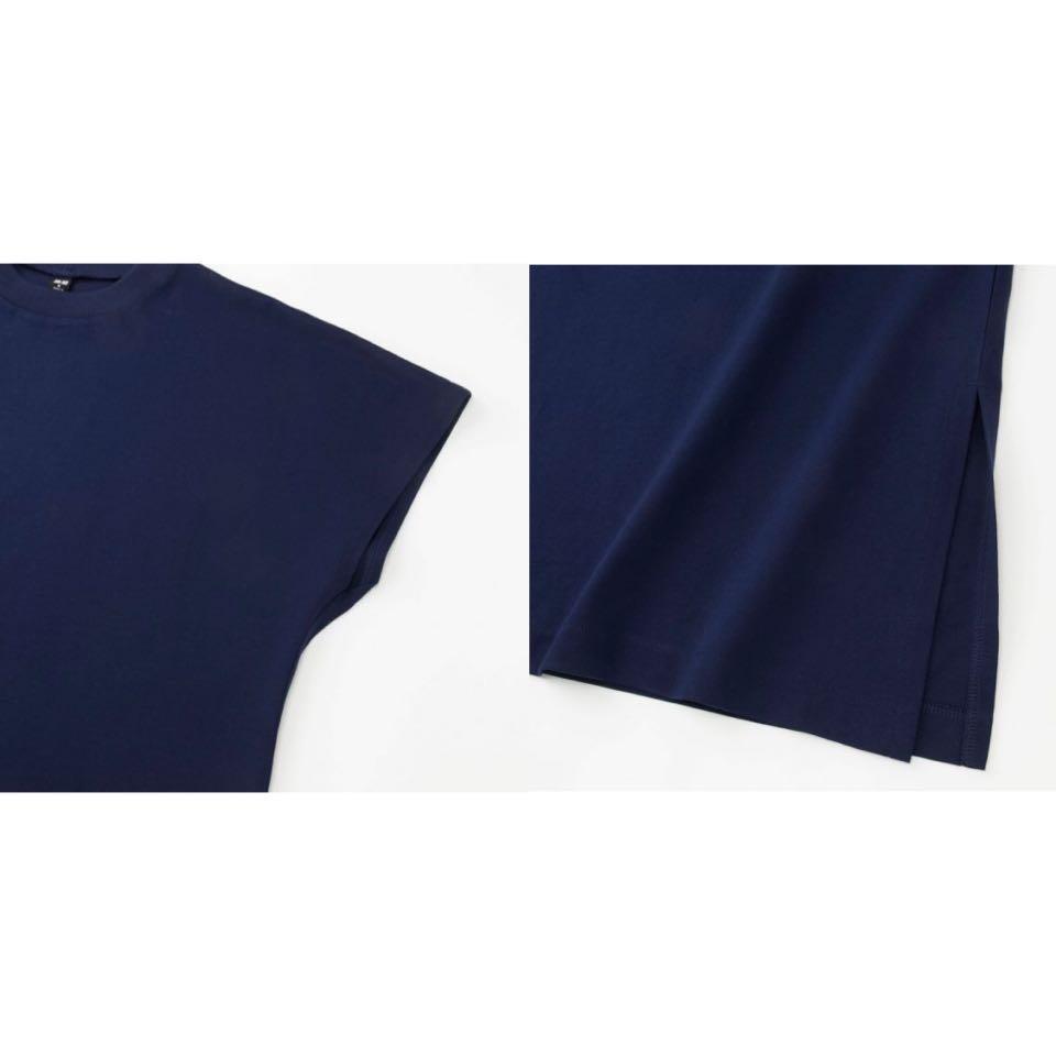 Uniqlo Women Mercerized French Sleeve Dress - Navy Blue