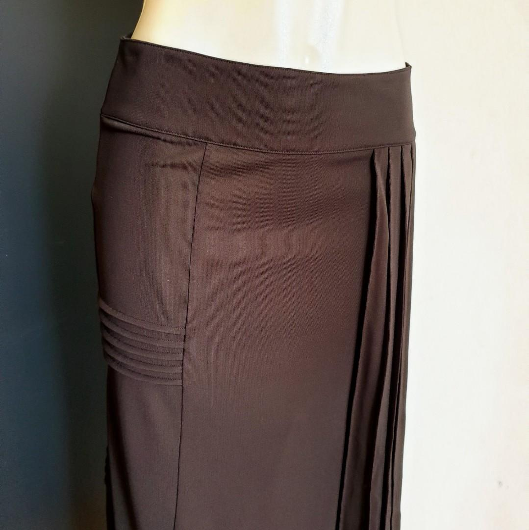 Women's size XS 6-8 'COUNTRY ROAD' Gorgeous chocolate brown midi skirt - AS NEW