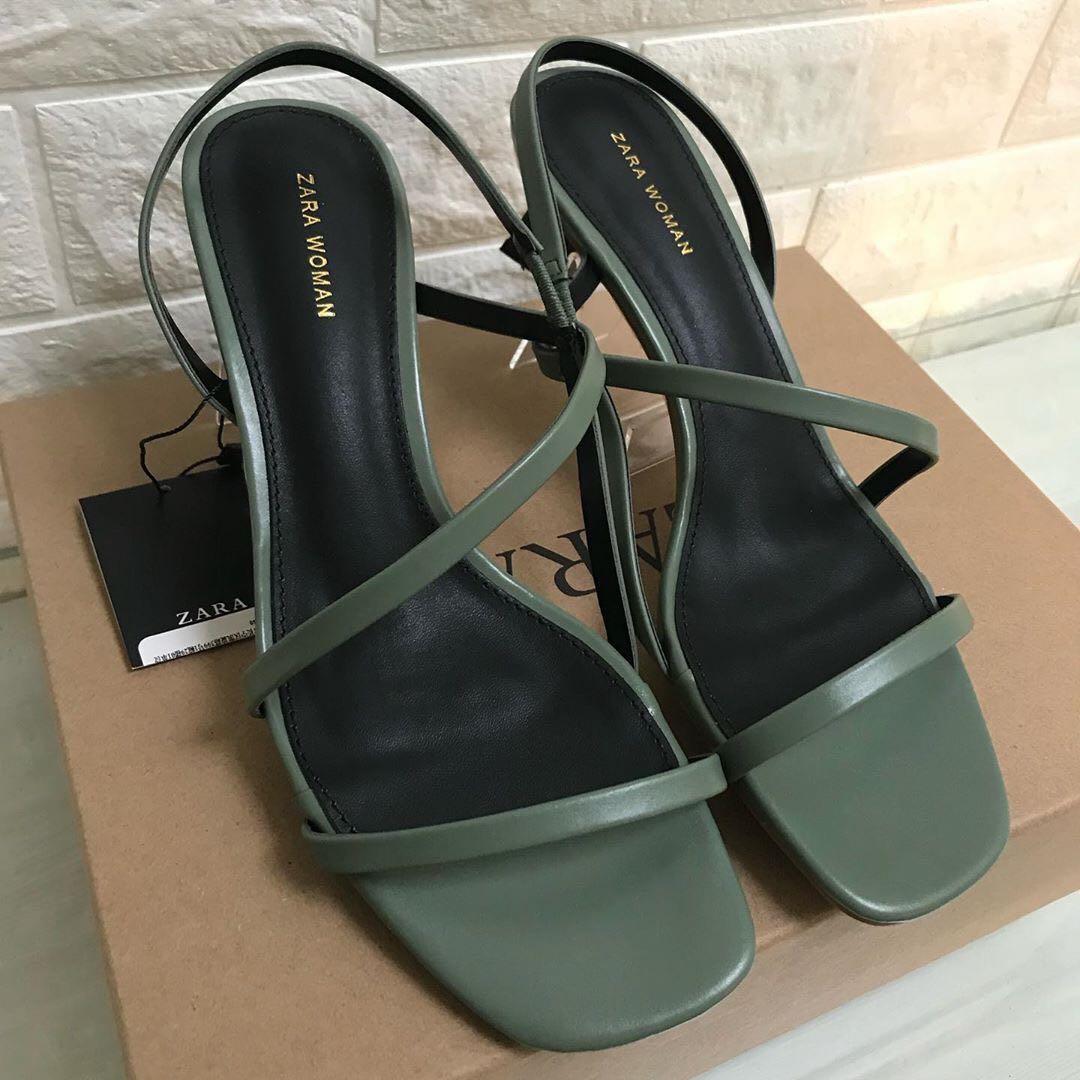 ZARA Wood Effect Heels Leather Sandals