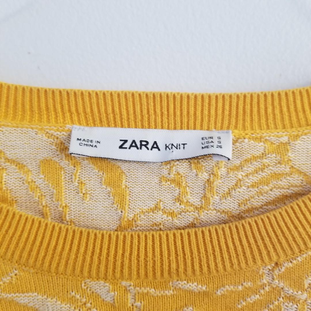 ZARA yellow split lead philo patented knit sweater