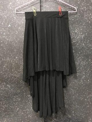 H&M 黑色雪紡不規則長裙(不含運)