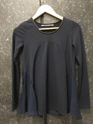 深藍色 棉質雪紡拼接上衣(不含運)