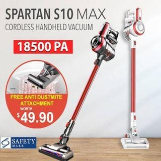 SPARTAN S10 MAX 14kPA / 18.5kPA Suction Power Cordless Handheld Vacuum Cleaner / Cordless Vacuum Cleaner / Handheld Vacuum Cleaner / Vacuum Cleaner