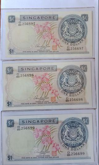 Orchid Series $1 notes X3run. HSS with seal.