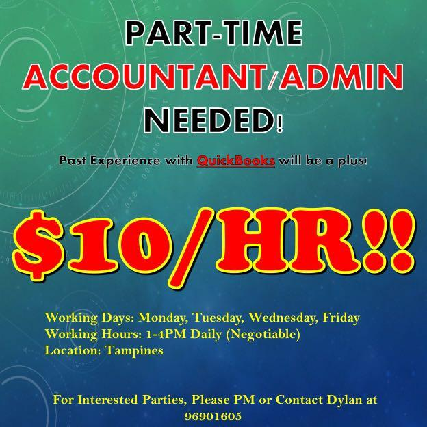 $10/HR!! PART-TIME ACCOUNTANT / ADMIN NEEDED @ TAMPINES!