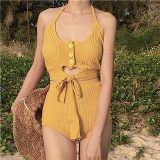 【預購】一件式綁帶泳衣