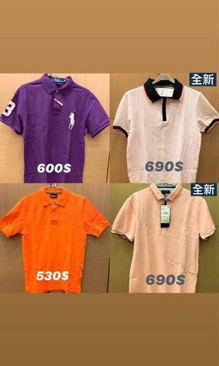 Polo衫皆正品-(9成新)紫M號-(9成新)橘S號-白M號(全新)-粉M號(全新)