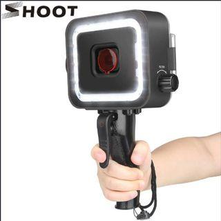 SHOOT XTGP540 Underwater LED Video Light + Red Filter for GoPro 7/6/5 Black