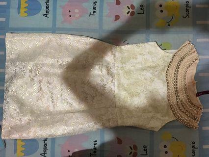 Dress Pesta white gold