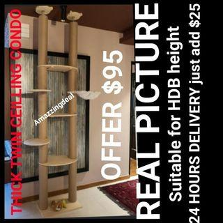 BEST SELLER CAT TWIN CEILING CONDO WITH BIG PILLARS 12CM STRONG PILLAR MATERIAL BEST DEAL not cat cage cat food bowl scratch post hammock cushion bed
