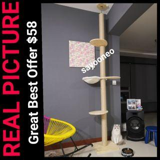 Best Seller Cat Ceiling Condo Tree Solid Wood HDB Height Ceiling Scracth Post With Hammock, Not cat cage cat food bowl cushion bed