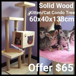 Cat Condo Solid Wood Tree Scracth Post Sisal Rope Natural, not cat cage cat food bowl cushion bed