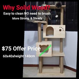 Best Seller Cat Condo Tree with Double Box Home Solid Wood Scratch Post Sisal Rope Natural , not cat cage cat food bowl tent cushion bed