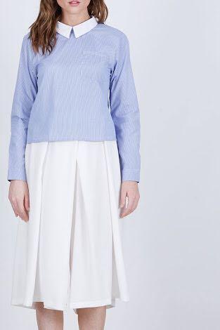 [Berry Benka] asimetris blue n white stripes oversized shirt