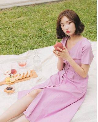 全新Pazzo 小氣質優雅V領珍珠釦短袖洋裝長洋裝粉紫