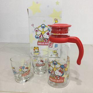 Hello Kitty 玻璃ㄧ壺二杯組 壺杯組 茶壺