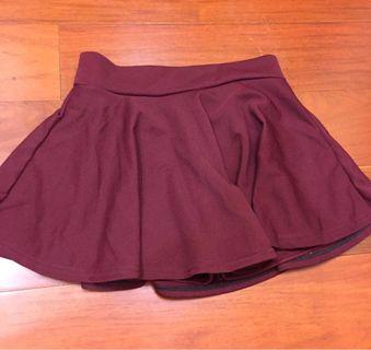 酒紅色褲裙