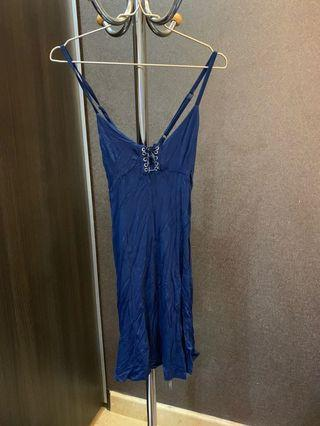 Dress lingerie atau baju tanktop sexy biru navy