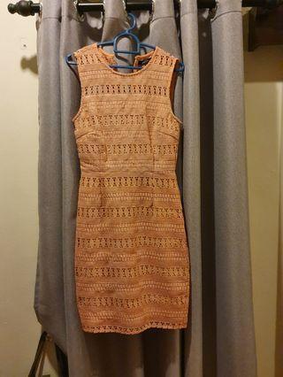 Crotchet Texture Lace Work Dress Pencil Sleeveless