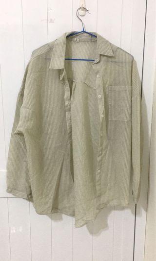 ✨綠白色條紋透膚襯衫 ✨