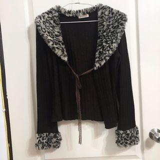 豹紋外套皮草針織衫罩衫