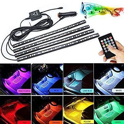 LED Car Interior Lights,Car Led Strip Light Glow Neon Decoration with Sound Active Function and Wireless Remote Control Including Car Charger 8 Colors,72LED