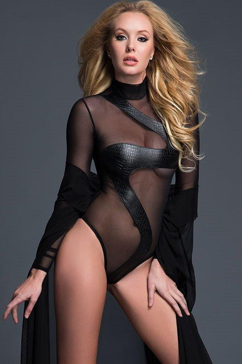 ADORE Black Snakeskin Leather Look Zip Up Teddy Large (10-12)