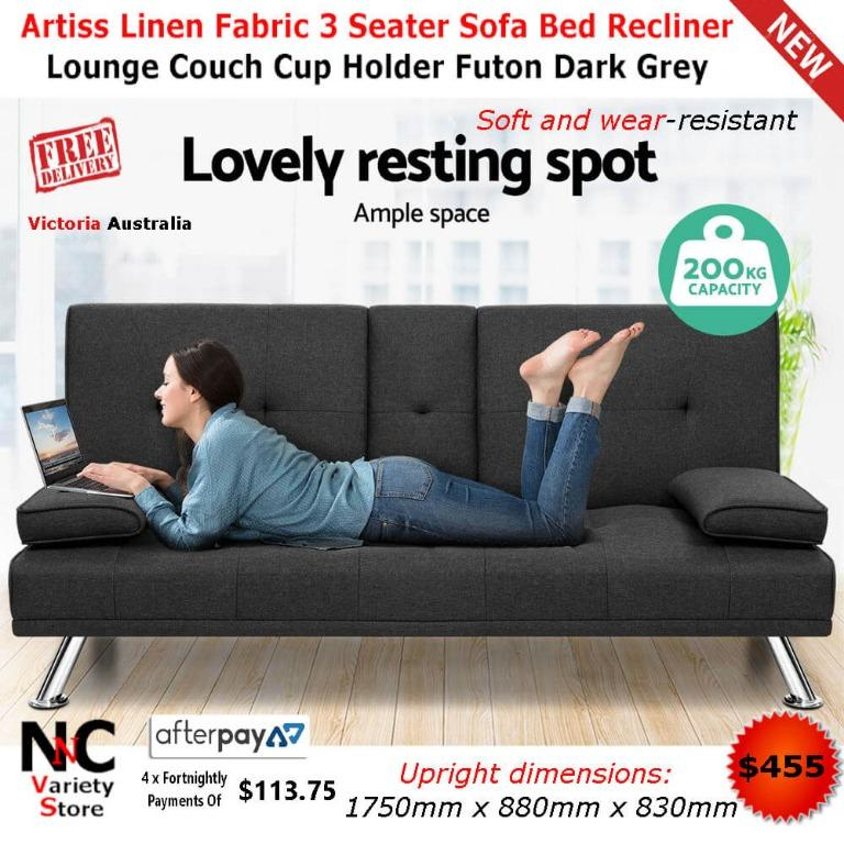 Artiss Linen Fabric 3 Seater Sofa Bed Recliner Lounge Couch Cup Holder Futon Dark Grey