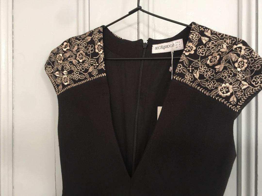 Bec and Bridge Sleeve Cap Detail plunge dress