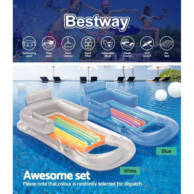 Bestway Durable Inflatable Sun Lounger Pool Air-Bed Seat/Chair Lilo Float Toy