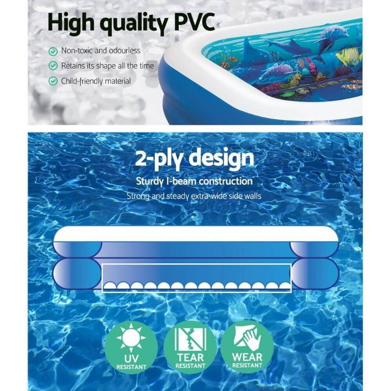 Bestway Inflatable Kids Pool Ground Play Pool 3D Undersea Aquarium outdoor