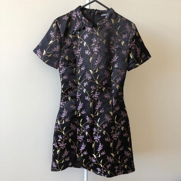 Beyond Her Black Dress With Floral Prints (Aus Size 6)
