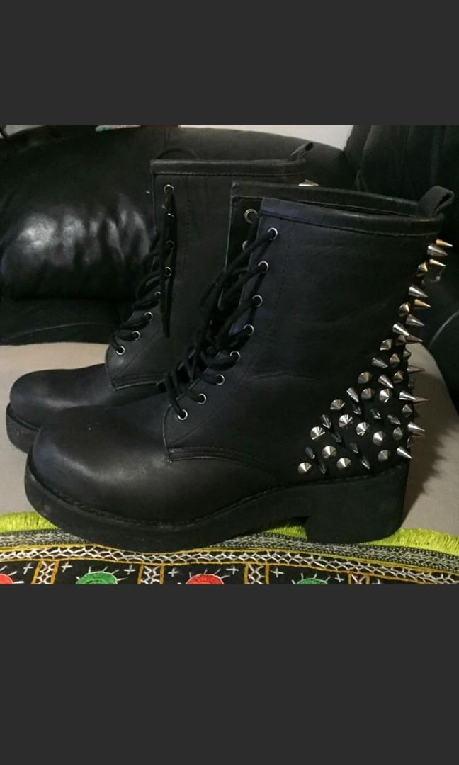 Brand new Windsor Smith black leather boots with spike heels
