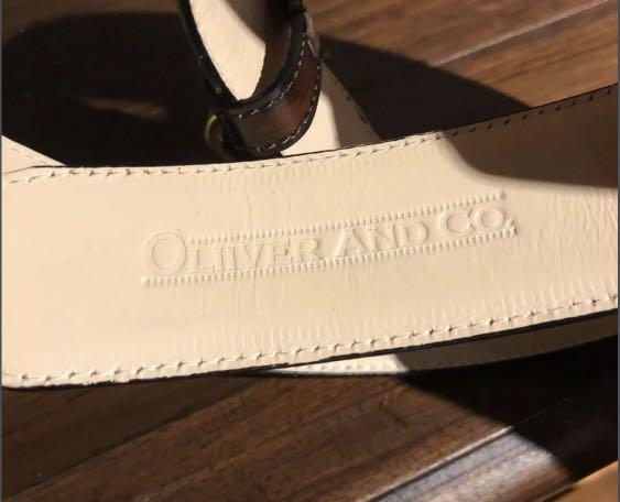 British Made OLIVER & Co. Brown Leather Belt w/ Specialty Buckle