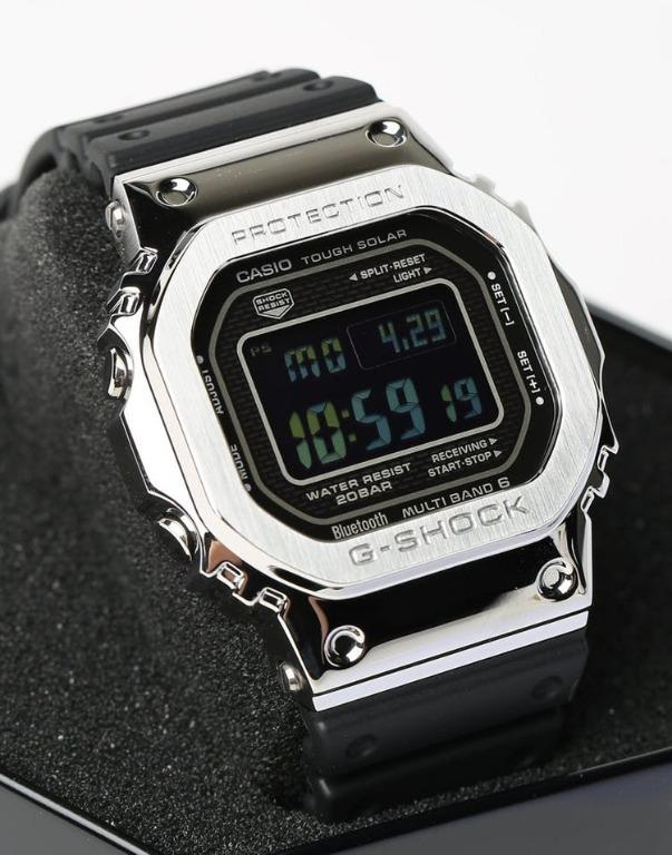 Casio BLUETOOTH GMW-B5000-1DR G-Shock Digital Sporty Design Classic Black Resin Band Silver Square Stainless Steel Case Original Watch GMW-B5000