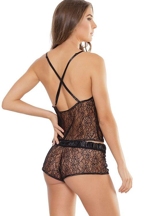 Coquette Black Lace Cami Set Boxed One Size