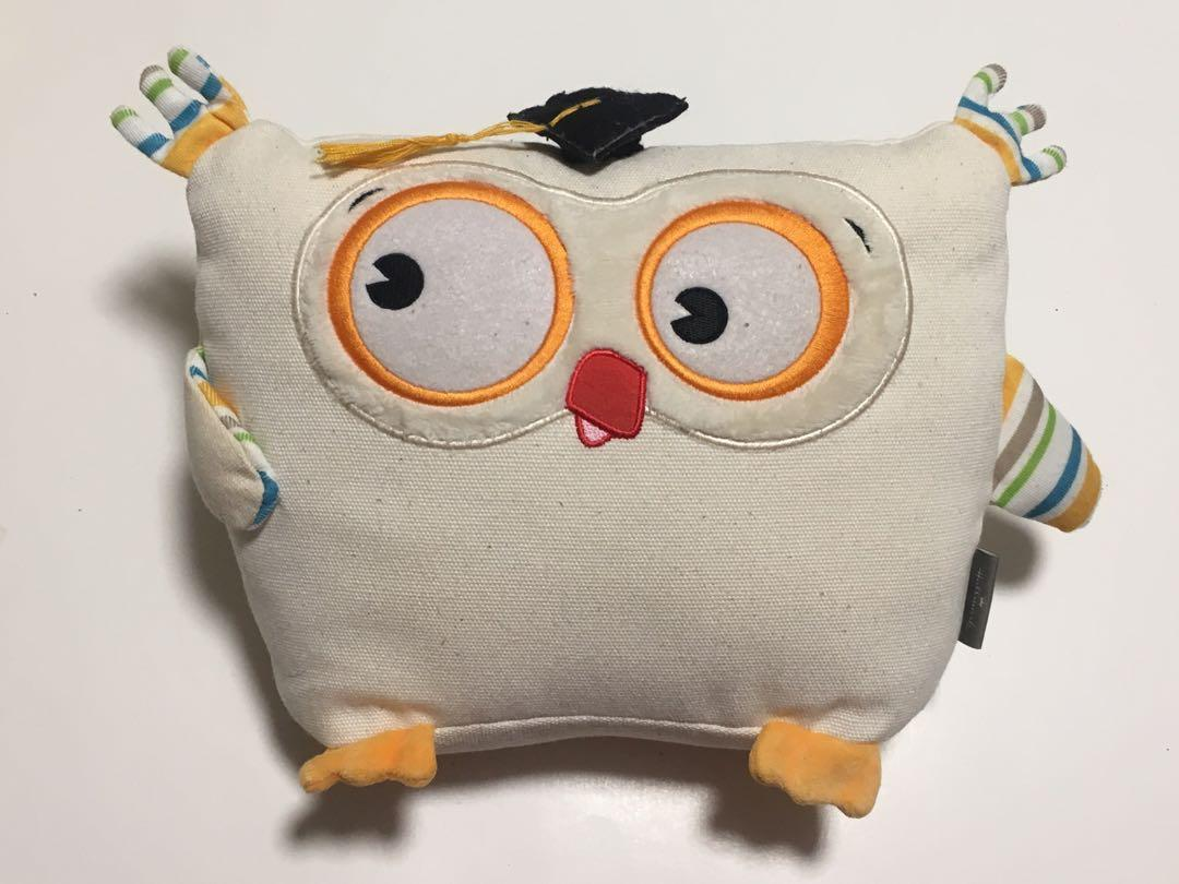 Cute Owl Graduation Children's Mini Plushie Pillow White Orange