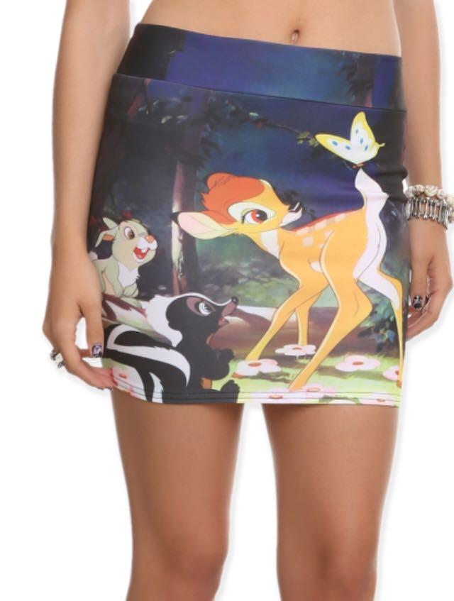 Disney's Bambi Thumper Flower Butterfly Contour Pencil Skirt