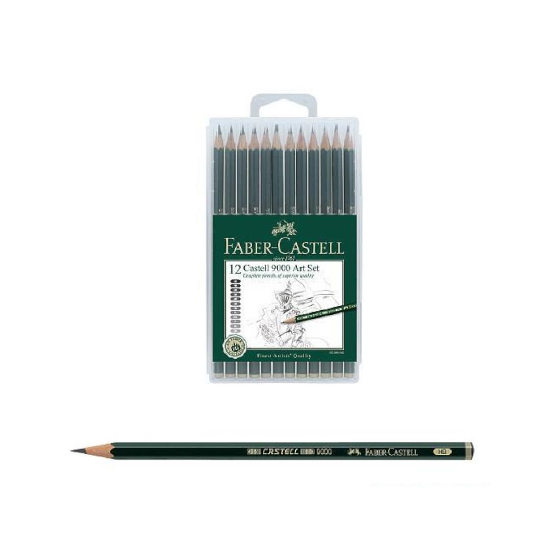 Faber Castell 9000 Art Set 12 x Pencils 8B,7B,6B,5B,4B,3B,2B,B,HB,F,H,2H