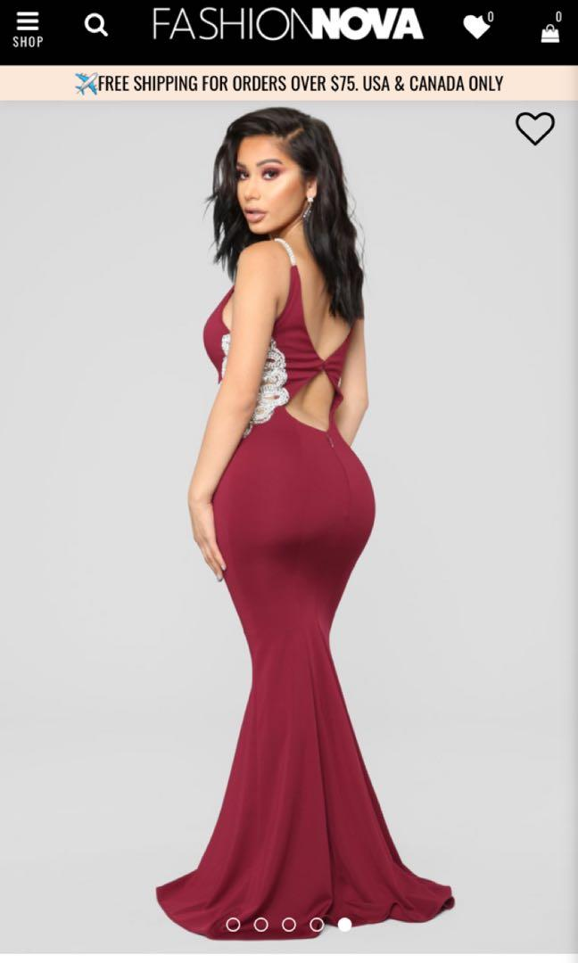 Formal dress fashion nova maroon dark red imperial beading