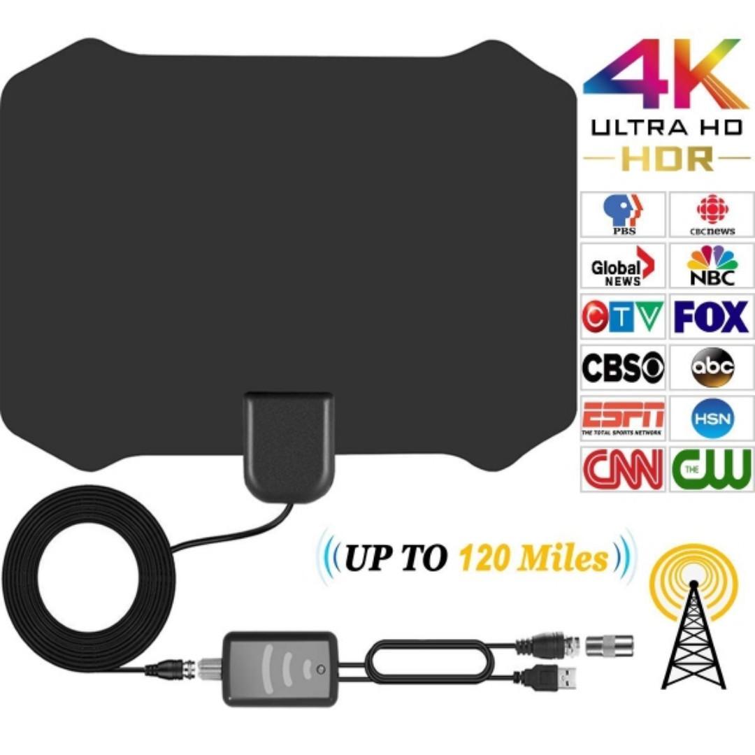 Indoor TV Antenna for Digital HDTV With (120 Miles Range)