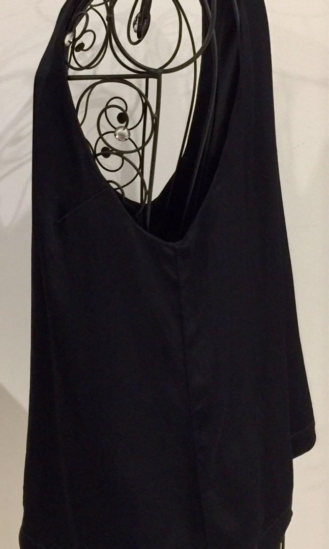 Kookai Size 10 38 Black Top Blouse Halter Stretch Spaghetti Straps Party Work