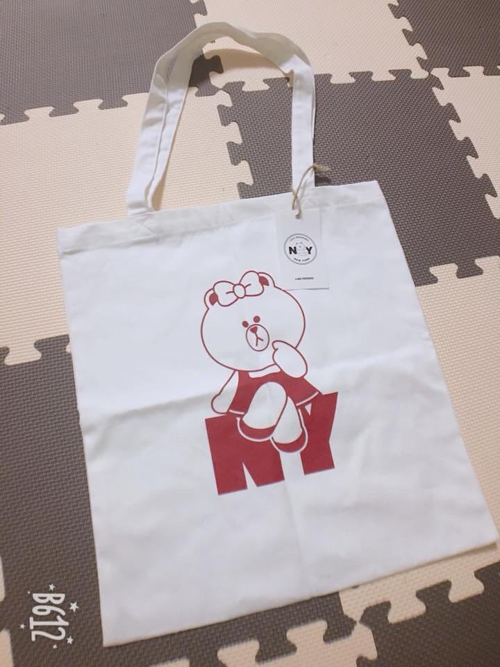 LINE FRIENDS-CHOCO 紐約限定版帆布肩包/購物袋