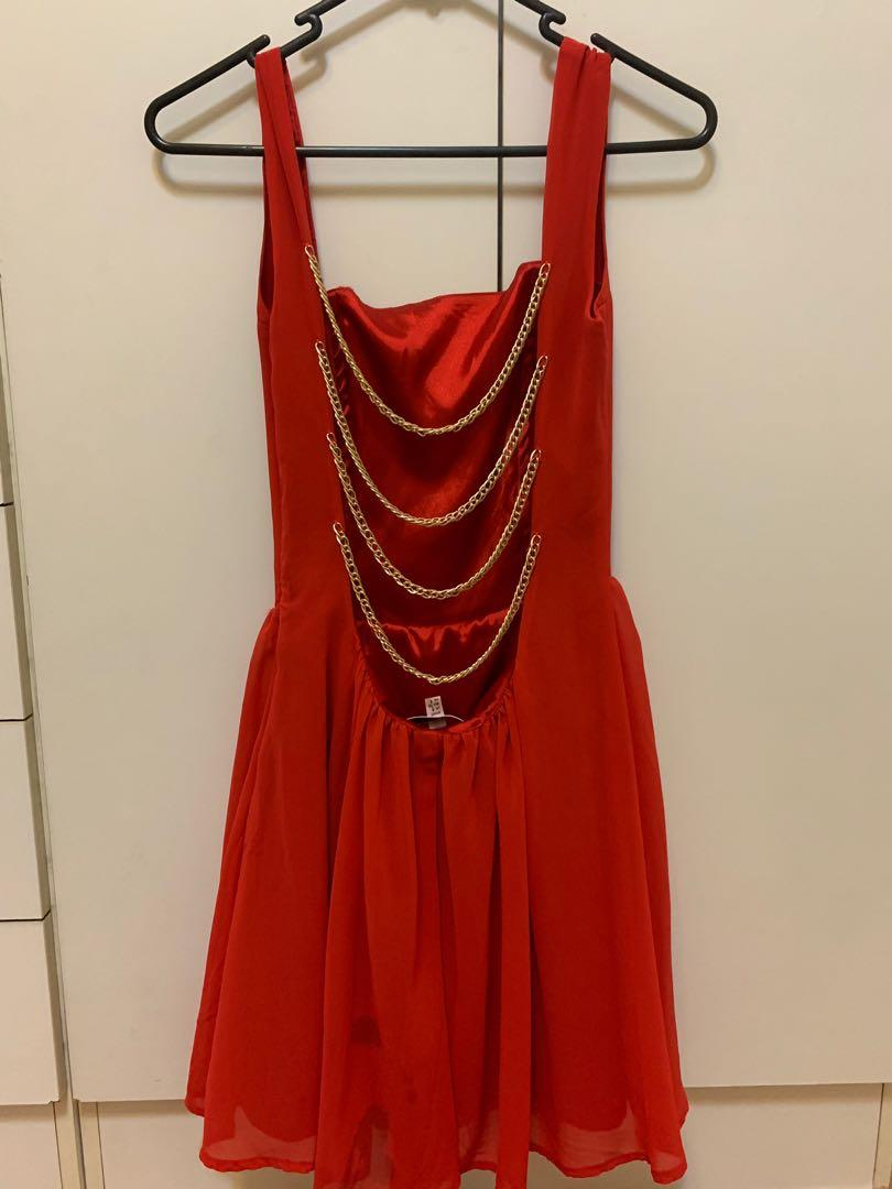 Little red dress - gold chains on the back - size 8