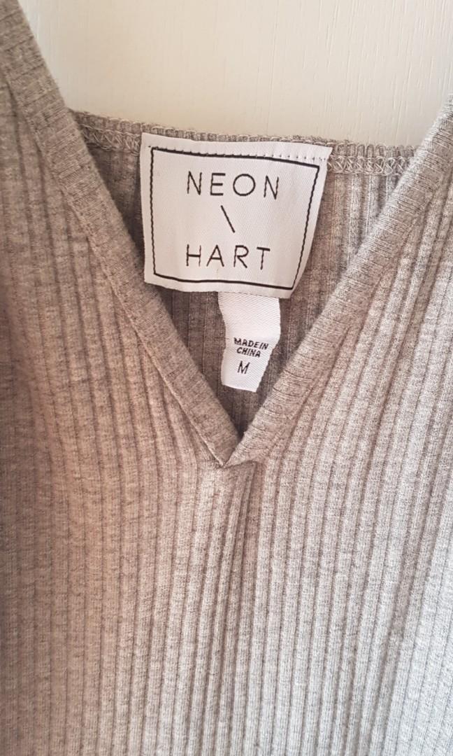 Neon \ Hart grey ribbed leotard.  Size M.